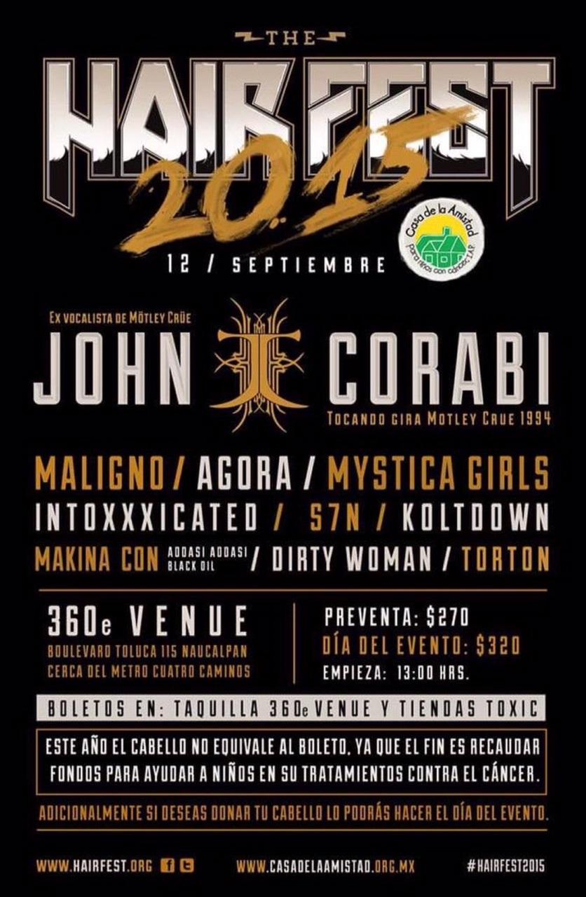 EL FESTIVAL HAIR FEST REGRESA PRESENTANDO A JOHN CORABI, EX VOCALISTA DE MÖTLEY CRÜE