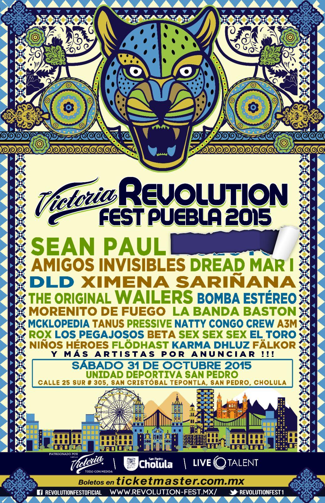 Revolution Fest Puebla Octubre 2015 Cartel