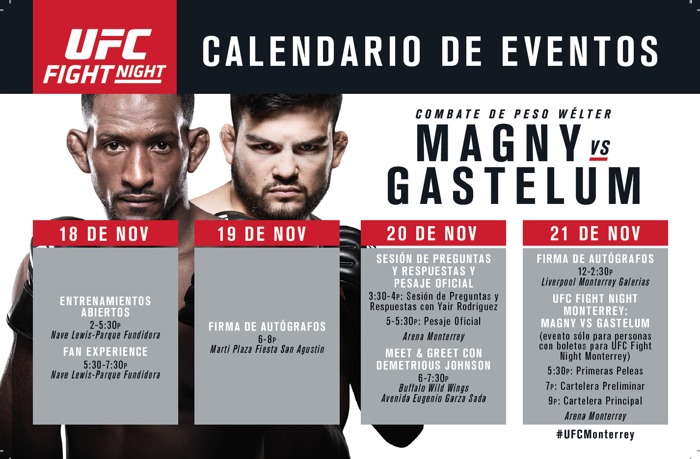 Magny vs Gastelum UFC Actividades
