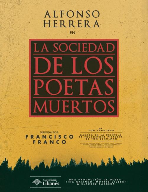 """ALFONSO HERRERA PROTAGONIZARÁ LA OBRA """"LA SOCIEDAD DE LOS POETAS MUERTOS"""""""