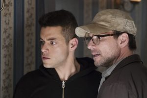 MR. ROBOT -- Pictured: (l-r) Rami Malek as Eliot Alderson, Christian Slater as Mr. Robot -- (Photo by: Peter Kramer/USA Network)