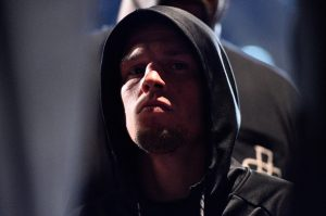 LAS VEGAS, NEVADA - MARCH 04: Nate Diaz waits backstage during the UFC 196 weigh-in at the MGM Grand Garden Arena on March 4, 2016 in Las Vegas, Nevada. (Photo by Jeff Bottari/Zuffa LLC/Zuffa LLC via Getty Images)