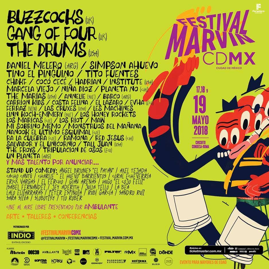 CONOCE EL CARTEL DEL FESTIVAL MARVIN 2018