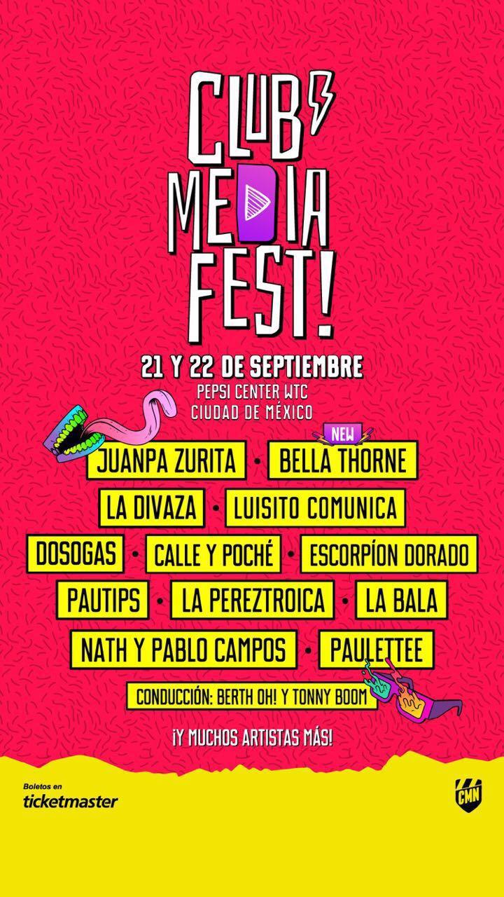 JUANPA ZURITA Y BELLA THORNE SERÁN LOS ESTELARES DEL CLUB MEDIA FEST 2018